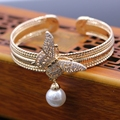 Fashion Cuff Bangle Gold Plated Pearl Drop Butterfly Cubic Zirconia Opening Bracelet Bangle For Women Wedding Accessories