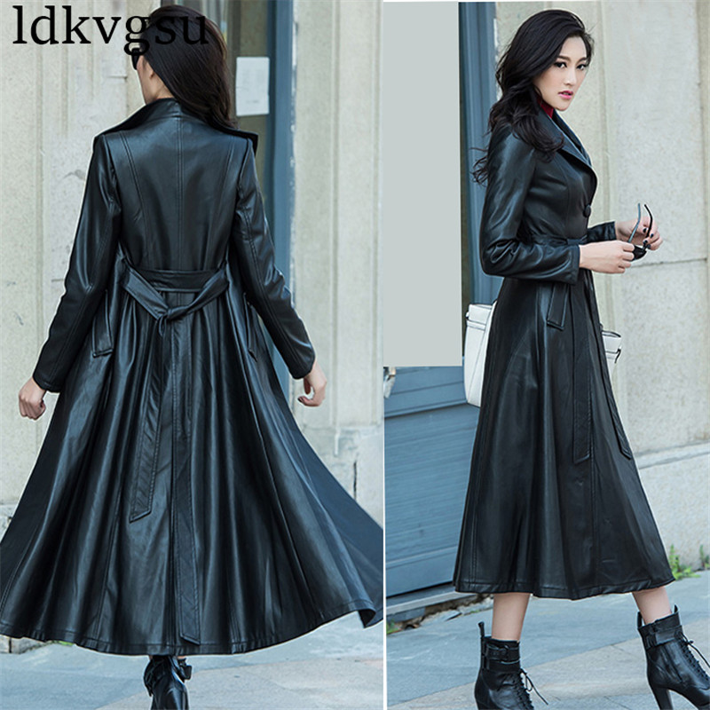 XS-8XL Women Black Maxi Pu Leather Coat Spring Autumn Plus Size Single Breasted PU Leather Long Trench Coat Windbreakers v330