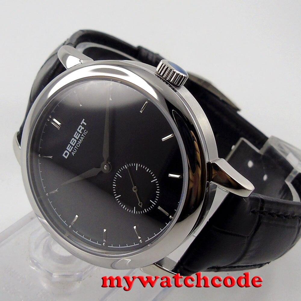 лучшая цена Polished 40mm Debert black dial leather strap Automatic mens Watch D39