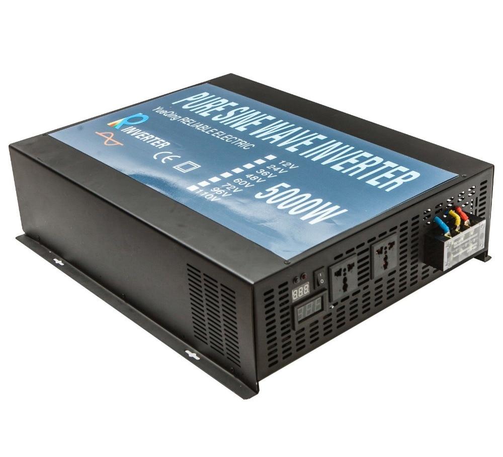 10000W Peak Pure Sine Wave Solar Inverter 5000W Car Power Inverter Battery Power Supply 12V/24V/48V DC to 110V/120V/220V/240V AC