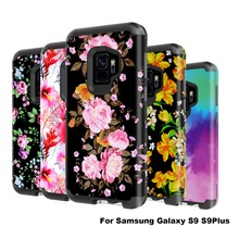 купить Shockproof Case for Samsung Galaxy S9 s9 Plus J327 flower Shockproof Hybrid Anti Shock Heavy Duty Armor case for iPhone 7 8 Plus по цене 765.58 рублей