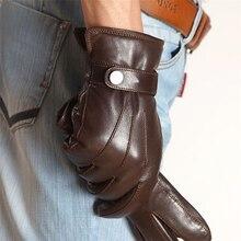 High Quality Men Genuine Leather Gloves Fashion Sheepskin Glove Autumn Winter Plus Thermal Velvet Driving Gloves EM007PCF