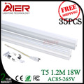 free shipping t5 led tube light 1200mm 18W AC85-265V for decoration, don't need fixture easy installation