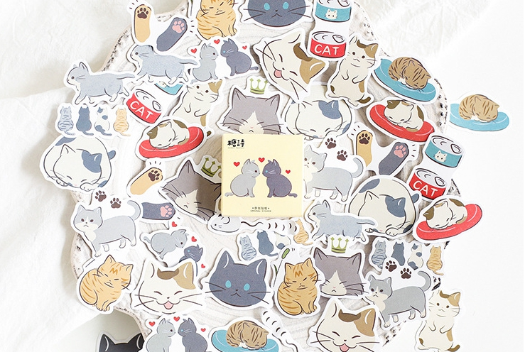 S9- Cat Dairy Diy Decorative Stickers(1pack=45pieces)