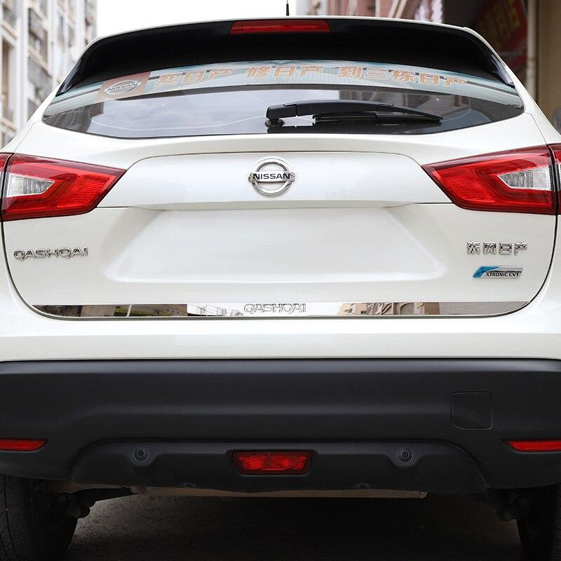 Высококачественная нержавеющая сталь задняя дверная ручка багажника Крышка хвостовые ворота отделка ободок литье Стайлинг для Nissan QASHQAI 2016 ...