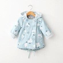 2016 Европейский стиль девочка Весна Осень Пальто Небесно-голубой Цветок шаблон двубортный ветровка толстовки
