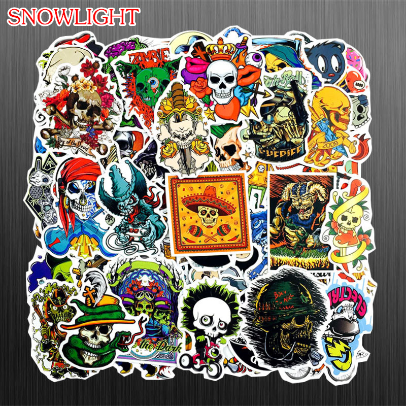 100PCS/lot Anime Funny Horror Skull Sticker For Laptop Refrigerator Skateboard Car Luggage Guitar Motorcycle DIY Toy Sticker