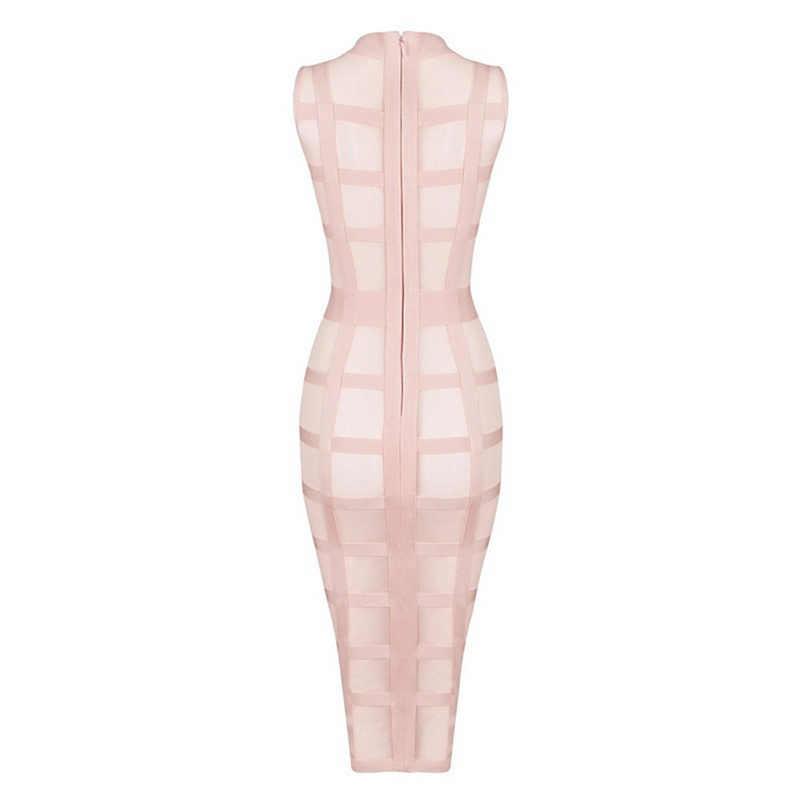 Лето 2019 г. дешевые высокое качество О образным вырезом вечерние рукавов праздничное повседневное светло розовый бинты миди до середины икры женское