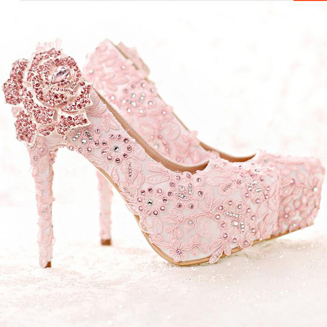 f95ea3af7ff7 Fashion Rhinestone Rose Flower High Heel Wedding Shoes Pink Lace Bride  Shoes Platform Round Toe Princess Pumps Prom Shoes