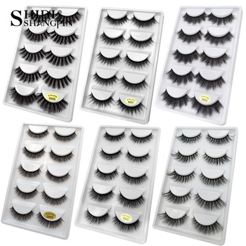 SHIDISHANGPIN 5 pairs mink eyelashes natural 3d mink lashes mink false lashes false eyelashes full strip lashes cilios faux cils