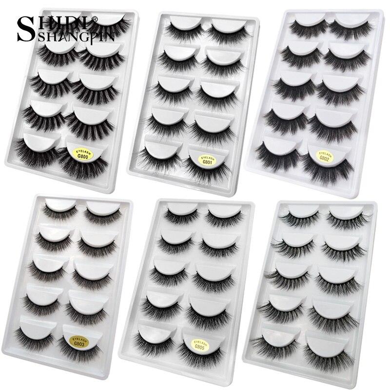 SHIDISHANGPIN 5 pairs mink eyelashes natural long 3d false lashes 1 box 3d mink lashes false eyelash full strip lash 1cm 1.5cm  -in False Eyelashes from Beauty & Health on Aliexpress.com   Alibaba Group