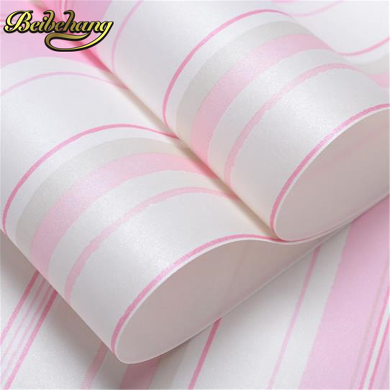 beibehang Boys girls papel de parede 3d wallpaper roll non-woven wall paper kids classic stripe wallpaper for living room mural boys girls wallpaper roll blue pink non woven wall paper kids wallpaper classic stripe wall paper child for living room w206