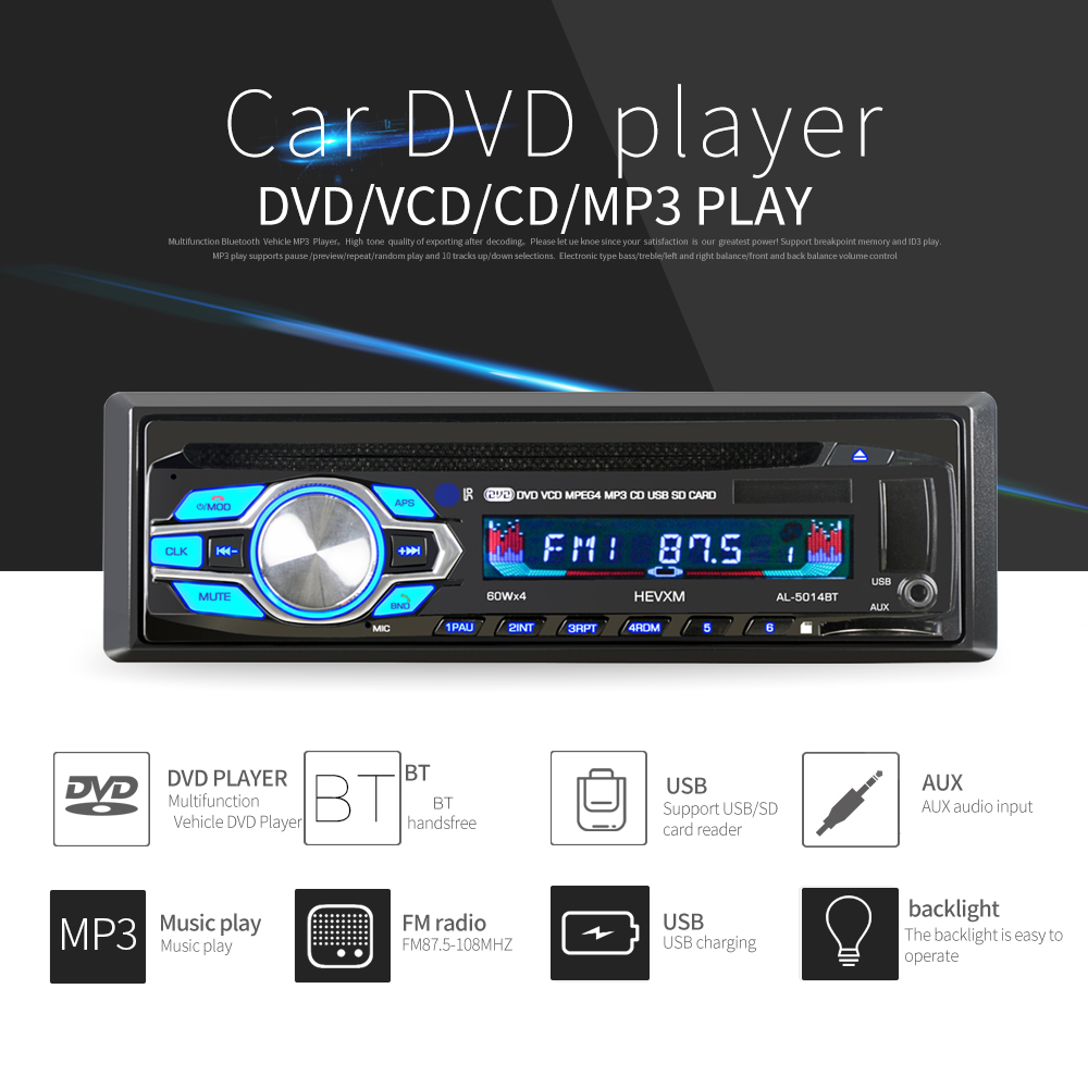 1 Din 12V Car DVD CD Player Vehicle MP3 Stereo Car Handfree Autoradio BT Audio Radio 5014 Car-styling Wireless Remote Control image