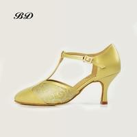 BD T22 Dance Shoes Ballroom Women Latin shoes Dancing Teachers Coaches SHOE Tango Genuine Leather Straight Sole Classical Gold