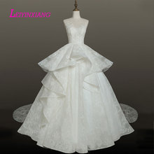 LEIYINXIANG New Arrival Wedding Dress Vestido De Noiva Robe de Mariee Modern Sexy Ball Gown Style Appliques Lace