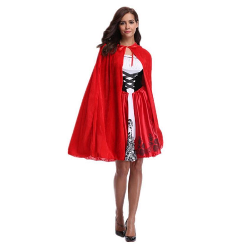 New Little Red Riding Hood Costume Queen Dress Vestido Halloween Cosplay Uniform Adult Cosplay Costume party Dress Plus Size XXL