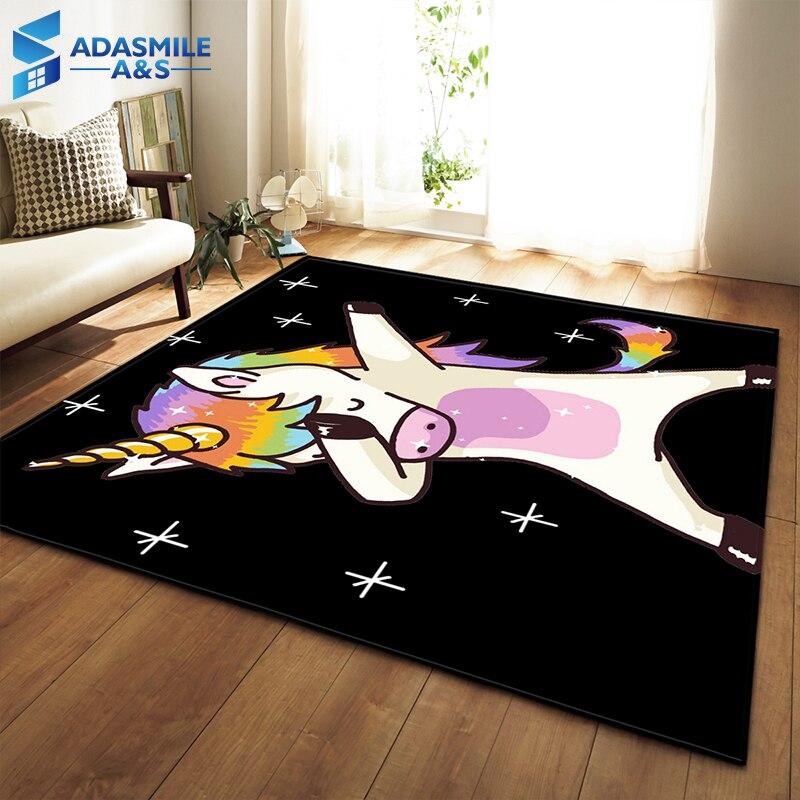 Nordique 3D licorne tapis dessin animé Animal chambre enfants jouer tapis doux flanelle mémoire mousse grand tapis tapis pour salon