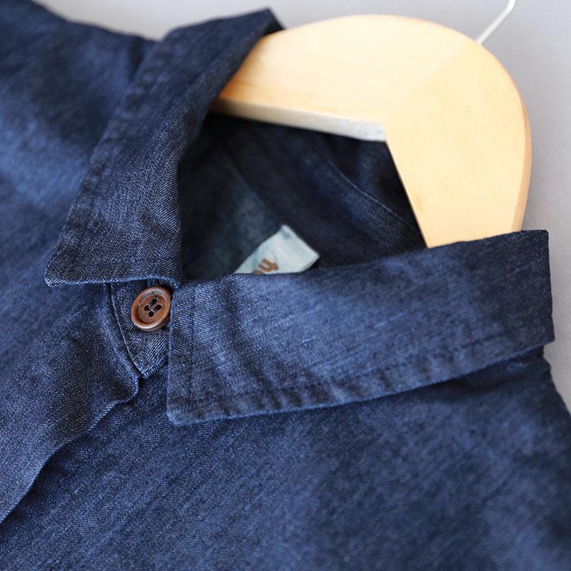 Broderie Automne Casual Buykud Denim Manteaux Coton Épissage Double Poche Manteau Navy Blue Lâche Manches Longues Femmes Vintage ORqRwdv