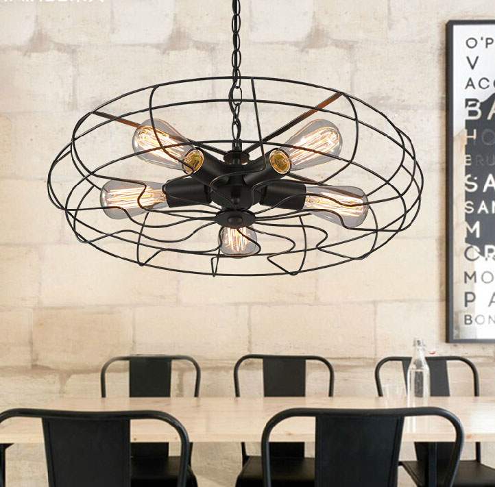 ФОТО Free shipping Loft industrial Black  Fan style pendant lights 5 holders  pendant lamp bar cafe light