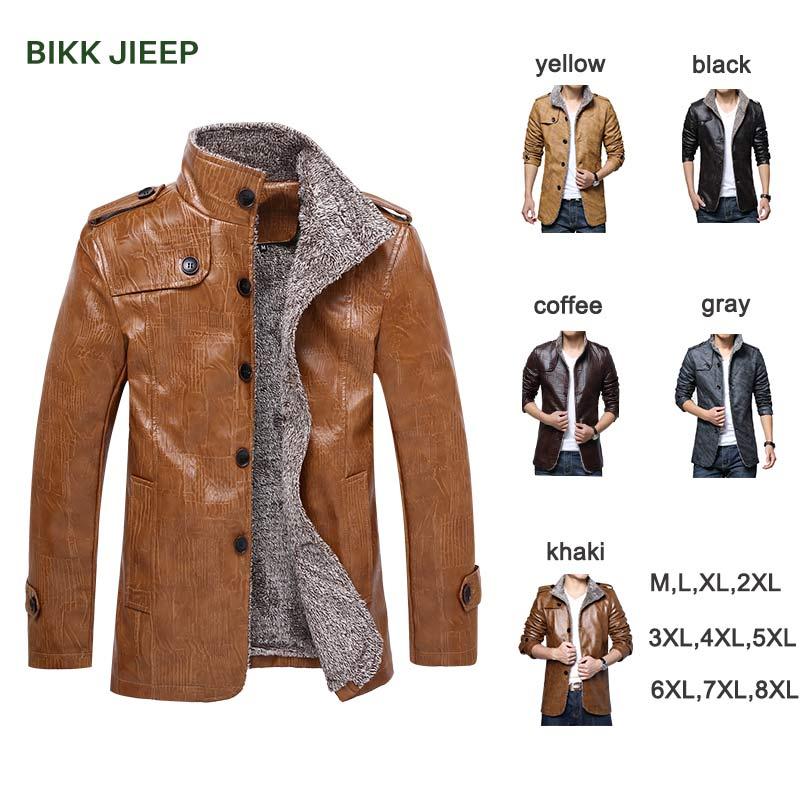 Leather Jacket Men Coats PU Men Business Winter Faux Fur Male Jacket Warm Male Jackets Chaqueta