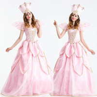 2018 New Made Adult Women Oneline Fairy Godmother Dress Wig Cosplay Long Pink Cinderella Fairy Godmother Costume