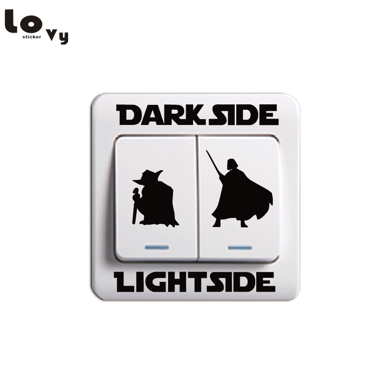 Classic Movie Star Wars Dark Side Light Side Switch Sticker Cartoon Vinyl Wall Stickers Home Decor 014