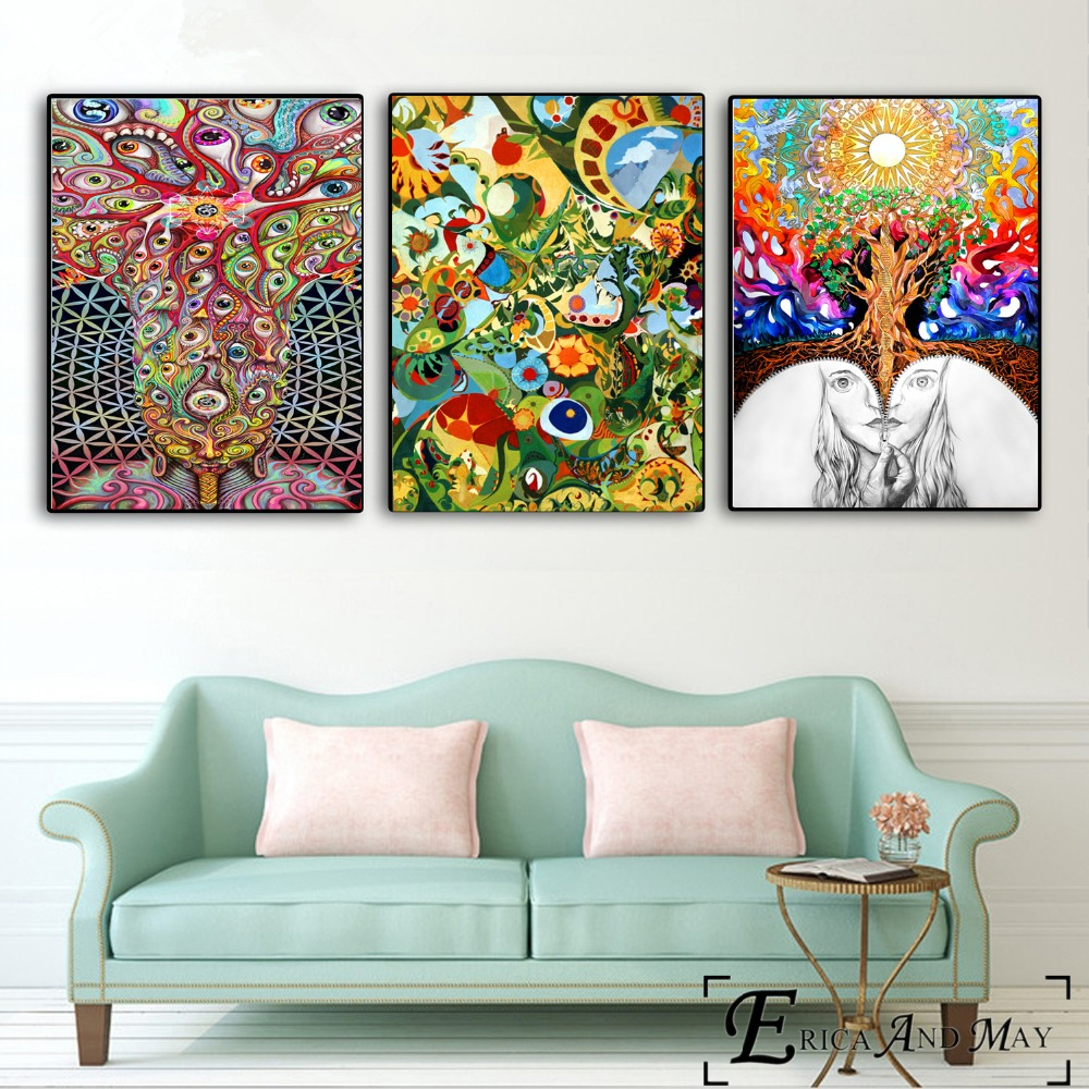 Hippie Psychedelic Artwork Canvas Painting Posters And Prints For Living Room No Framed Wall Art Picture Home Decor On Sale