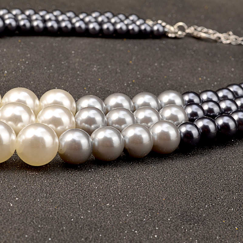 Uddein Etnis Kalung untuk Wanita Multi Layer Simulasi Perhiasan Mutiara Bib Manik-manik Maxi Kalung Afrika Manik Perhiasan