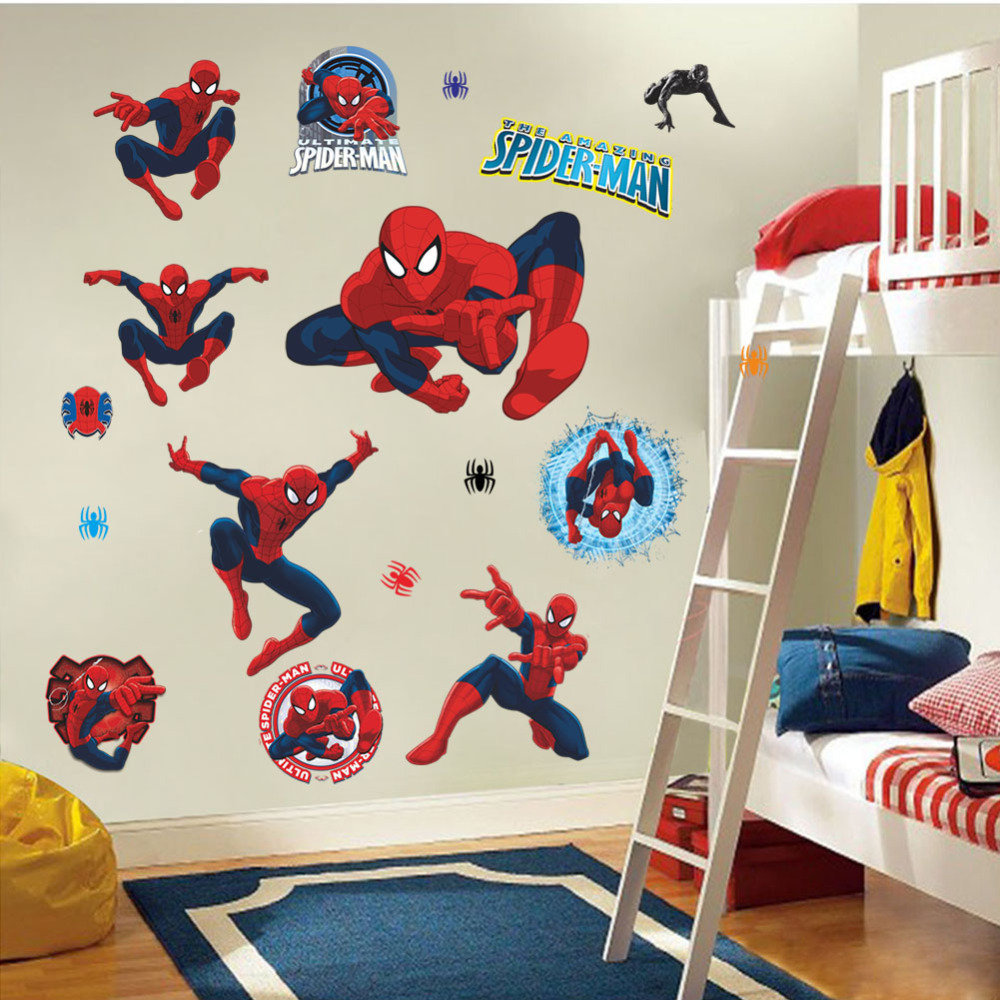 Movie Poster Character Spiderman Wall Stickers Cartoon Wall Decals Kids  Rooms Decorations Marvel Wall Sticker Christmas Gifts In Wall Stickers From  Home ...