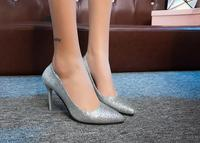 2018 spring new gold and silver wedding shoes bride small code color high heeled shoes fine with pointed sequins shallow mouth s