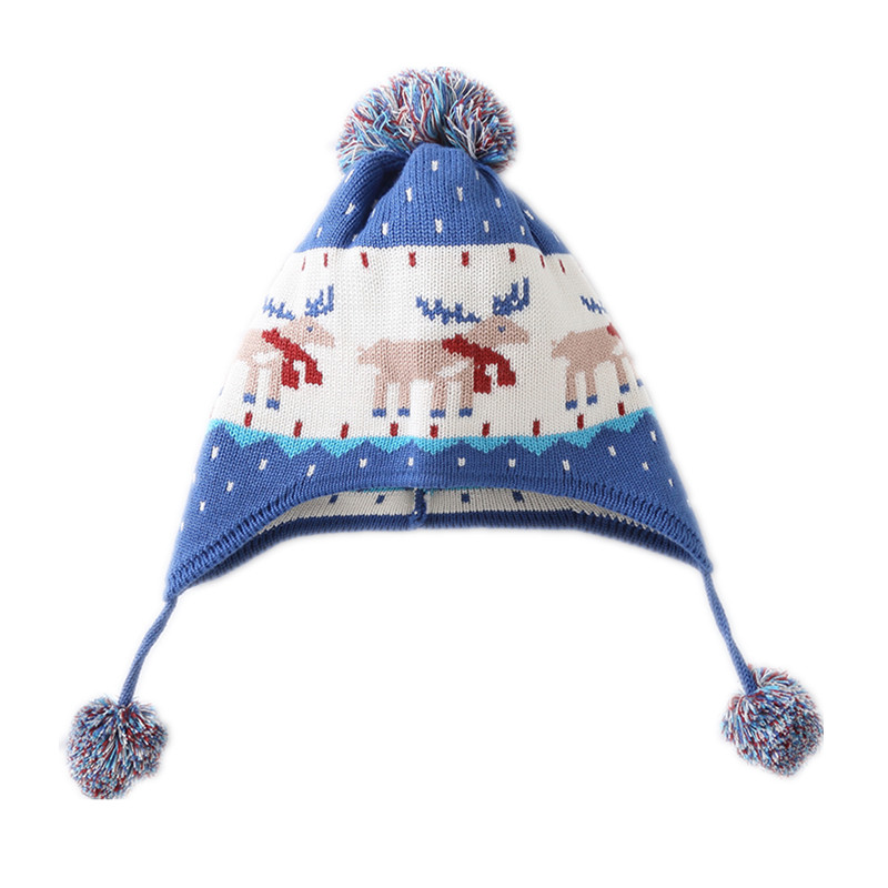 baby & kids boys fall winter reindeer print cotton casual knitted earflap beanie hats children boy fashion christmas hat caps