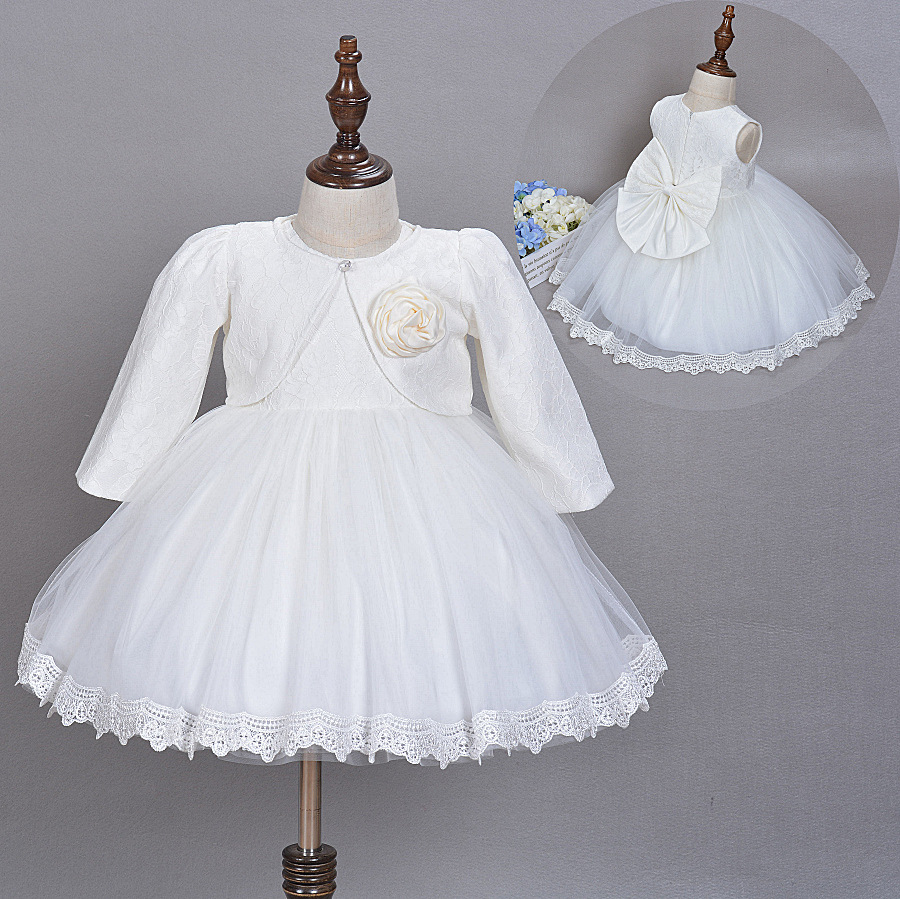 Baby Girl Dress Christening Gown White Wedding Baptism Baby Lace Big Bow Princess Dress for Newborn Girls Wedding Birthday Party