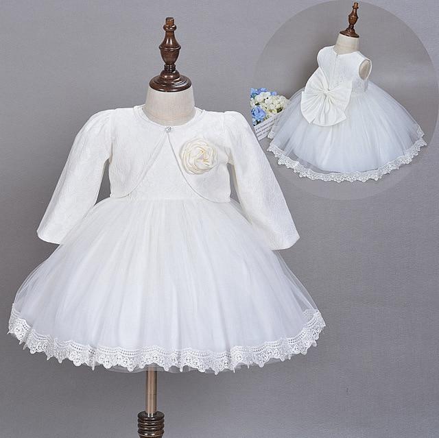 fa78aaf2f Baby Girl Dress Christening Gown White Wedding Baptism Baby Lace Big Bow  Princess Dress for Newborn Girls Wedding Birthday Party