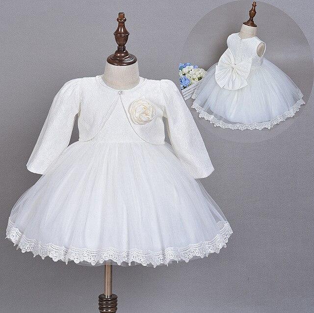 Vestito Dalla Ragazza del bambino Battesimo Abito Abito Bianco di Nozze Battesimo  Del Bambino Del Merletto dd3fbad7478