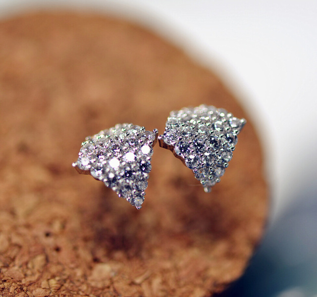 famous brand Korean style women jewelry CZ diamond stud earrings geometric fashion crystal 925 Sterling Silver girlfriend gift