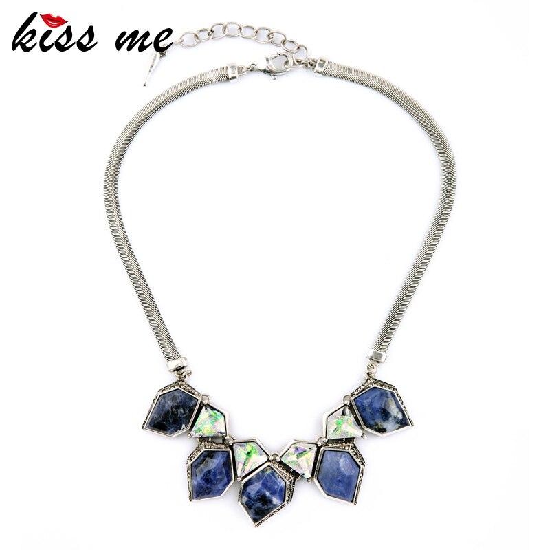 Elegant Fashion Modern Women Snake Chain Blue Stone