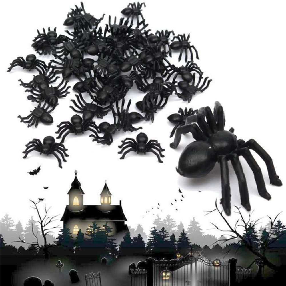50Pcs/Set Halloween Decorative Spiders Small Black Plastic Fake Spider Toys Ovelty Funny Joke Prank Realistic Props Funny Toy