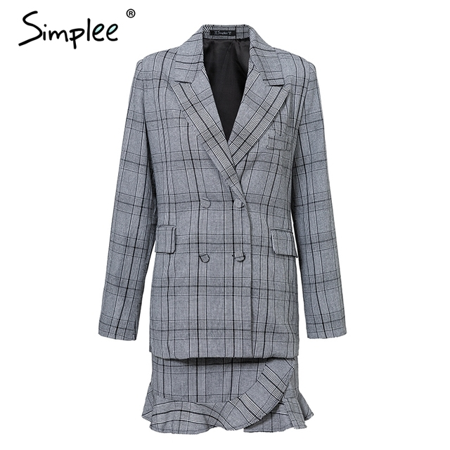Simplee Elegant plaid turndown collar women blazer suit Ruffles two piece set long sleeve skirt suit Office ladies coat