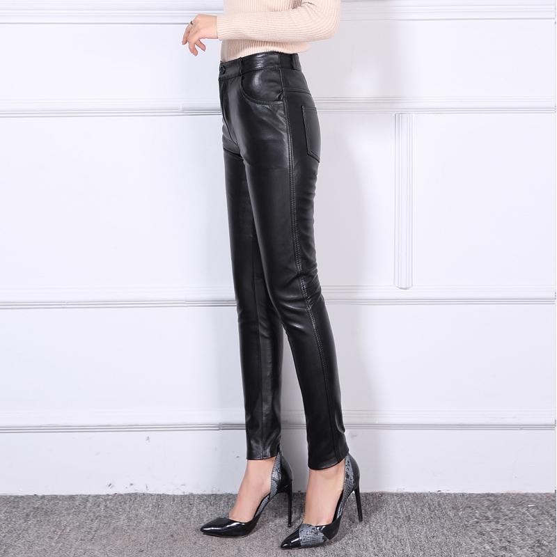Pantalons en cuir véritable noir pour femmes printemps et automne pantalons en cuir véritable en peau de mouton OL Show pantalons Leggings Slim de bottes - 2