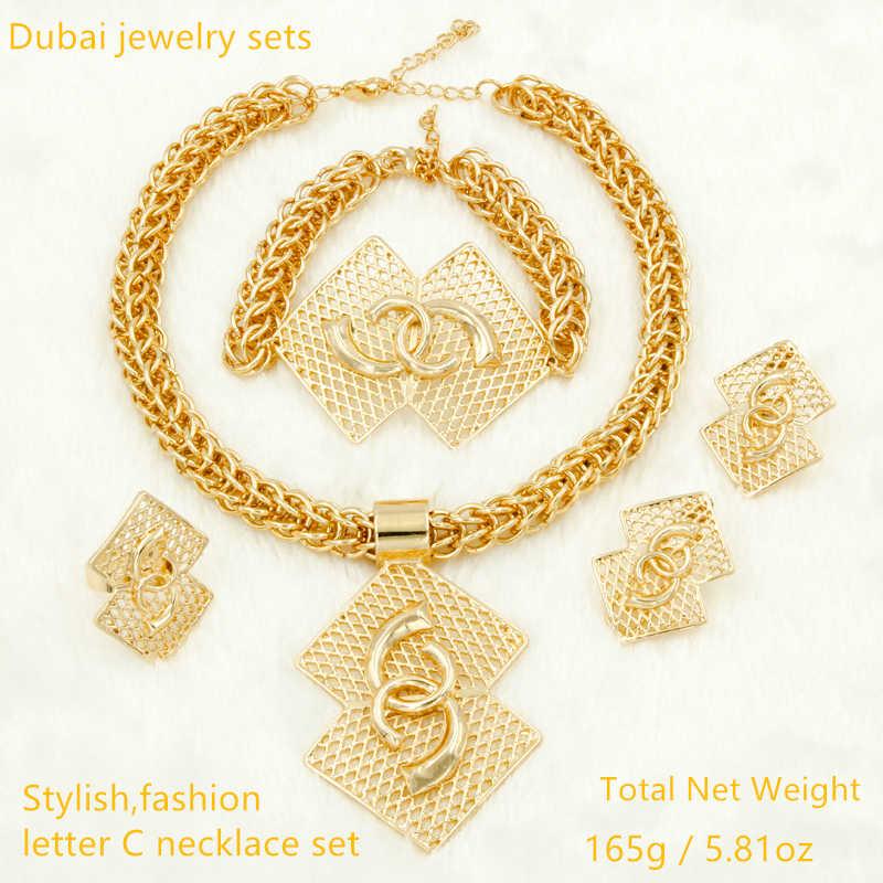 Оптовая продажа Роскошные нигерийские женские свадебные комплекты ювелирных изделий большое массивное свадебное ожерелье и серьги Дубай золотые африканские бусины ювелирный набор