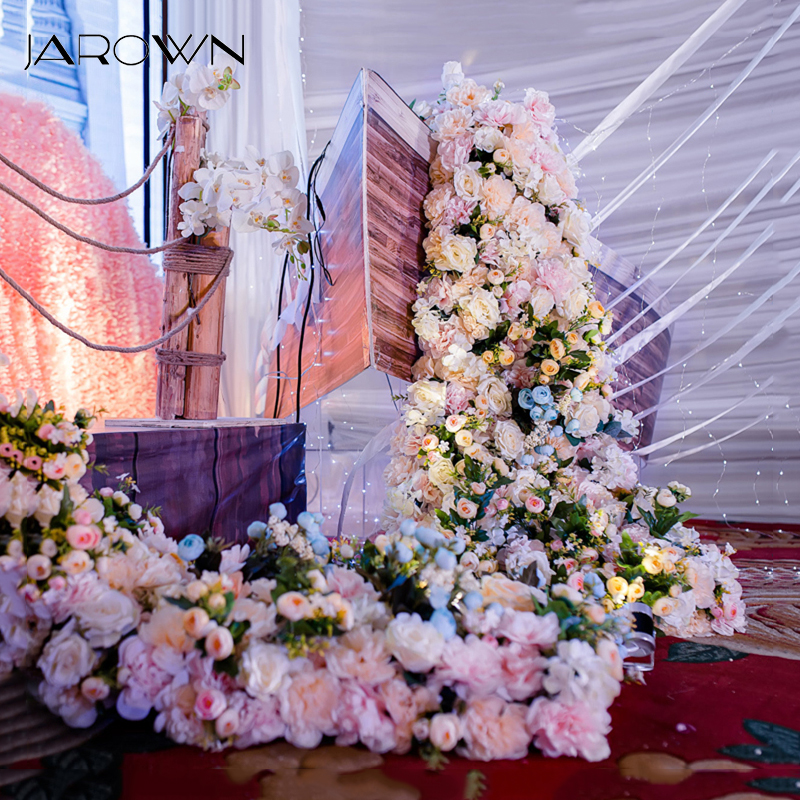 JAROWN Wedding Props Flower Row Trailing Floral Set Flower Wall Welcome Area Stage Layout Decor Home Party Decoration Flores