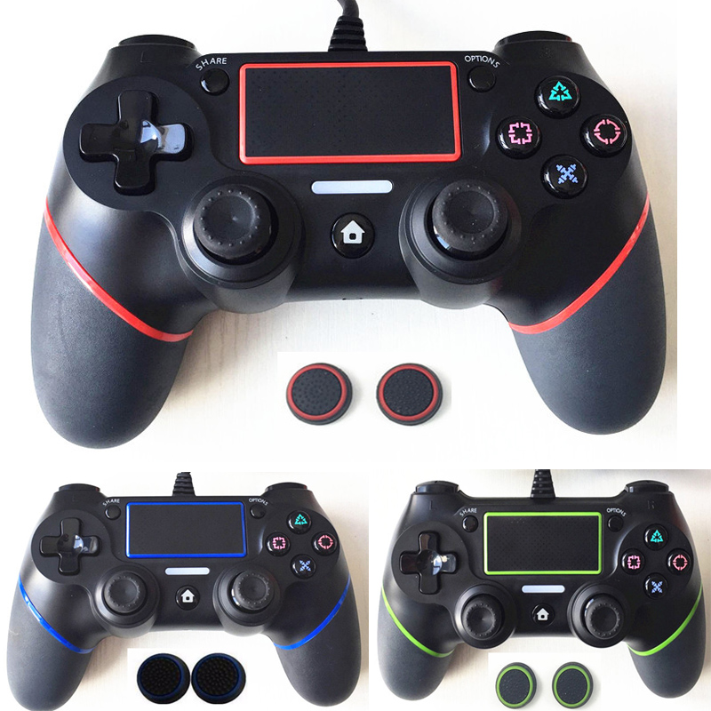 For PS4 Controller Wired Gamepad For Playstation Dualshock 4 Joystick Gamepads Multiple Vibration 6 Axies For PS4 Console+2 caps four colors controle ps4 original wireless gamepad bluetooth joystick with touch panel for playstation 4 for ps4 controller