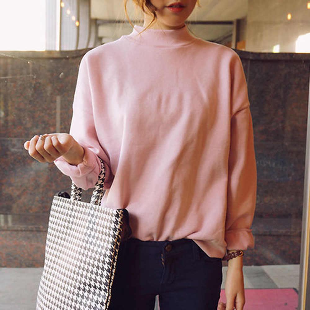 المرأة الياقة المدورة هوديس المرأة الخريف بلوزات كاملة الأكمام Meletom Feminino Harajuku البلوز معاطف WDC1405
