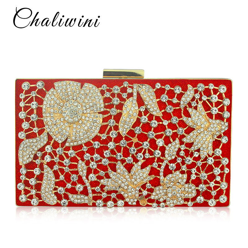 Metal  Hollow Out Flower Crystal Women Evening Bags Day Clutch Purse Handbags Chain Shoulder Bolsa Feminina Phone Key Pocket Bag