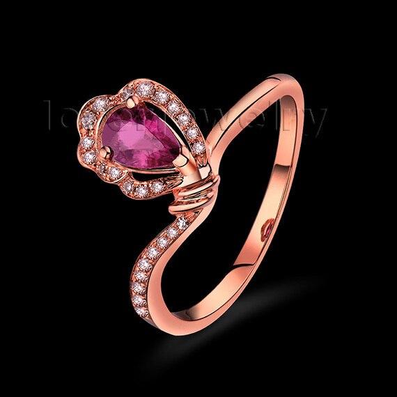 Новый Обручение груша 4x6 мм SOLID 18 К розовое золото натуральный турмалин кольцо с бриллиантом wu257