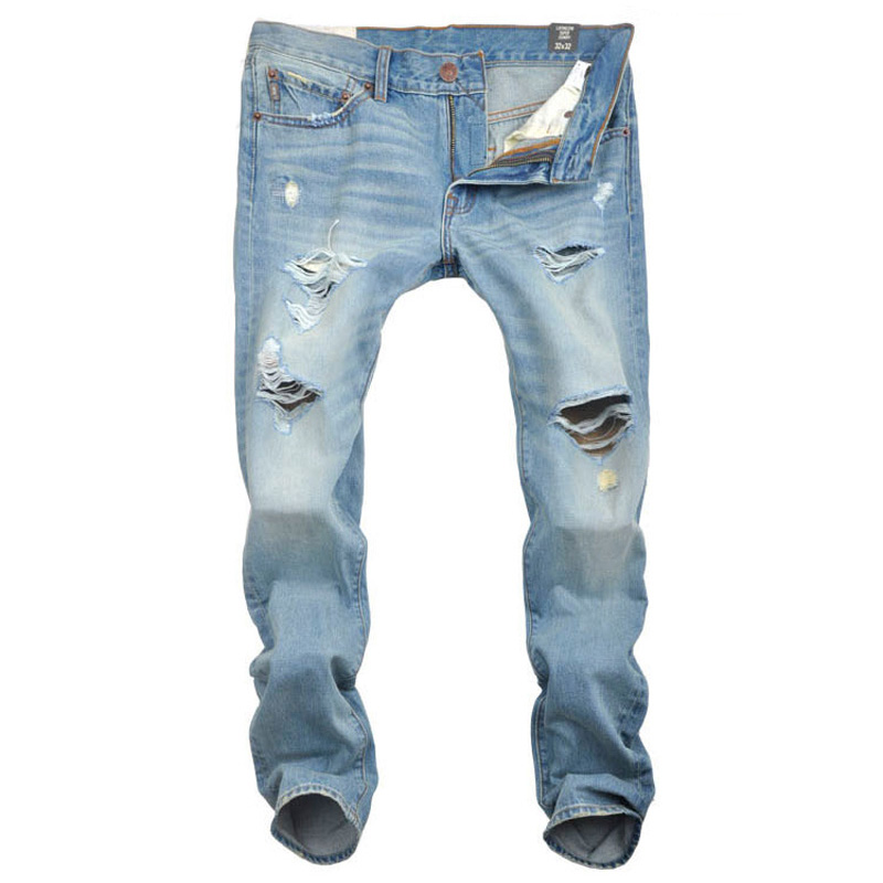 ФОТО classic cowboy quality blue destroyed jeans motorcycle brand clothing mid stripe slim fit mens moto jeans uomo pants T60026