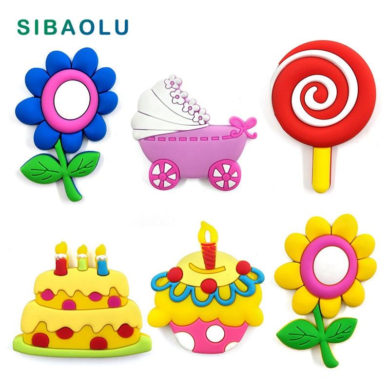 Flower Baby Cart Cake Silicone Fridge Magnet Whiteboard Cartoon Sticker Refrigerator Soft Magnets Message Post Home Decoration