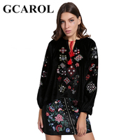 GCAROL Autumn Winter Velvet Embroiderd Women Blouse Smooth Sweet Asymmetric Female Tops Soft Pullovers