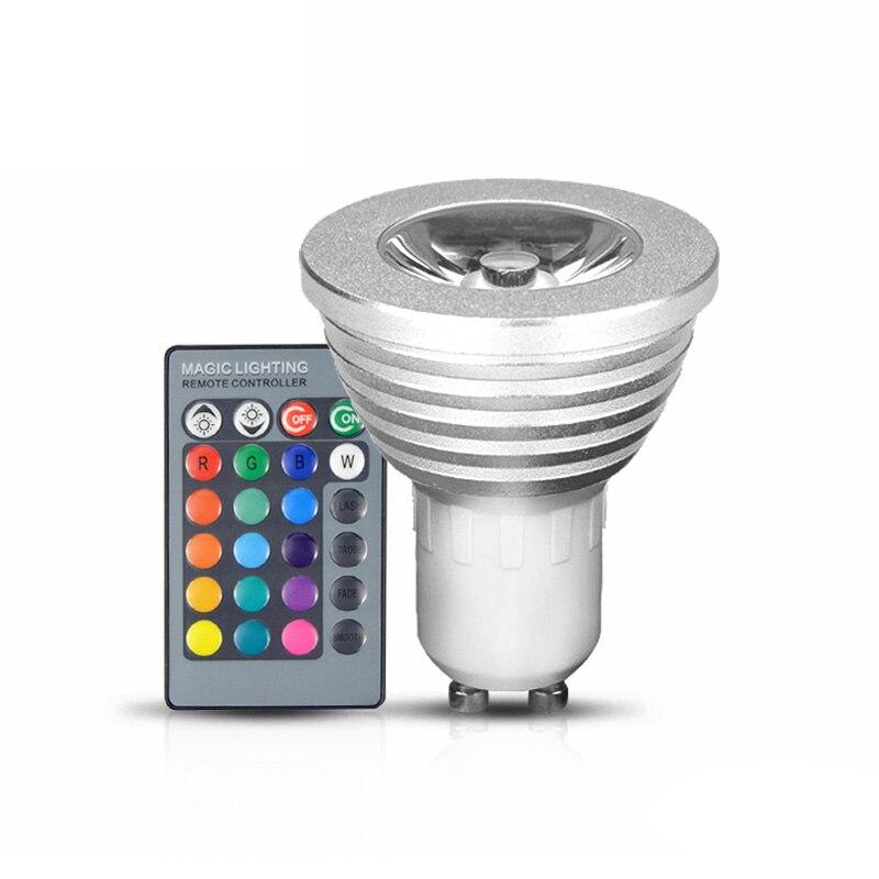 1 Stücke 85-265 V 110 V 220 V 24 Tasten Fernbedienung Scheinwerfer-birne Dekorative Nachtlicht 16 Farben Dimmbar Gu10 Rgb Led Lampe