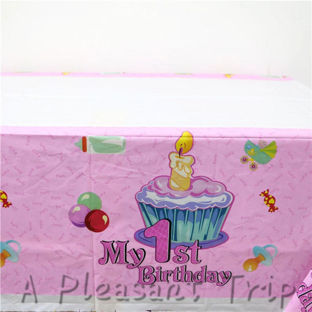 US $1 73 24% OFF|108*180cm1ocs/lot 1st birthday set party supplies  tablecloth theme party children happy birthday decorative theme party  sepplies-in
